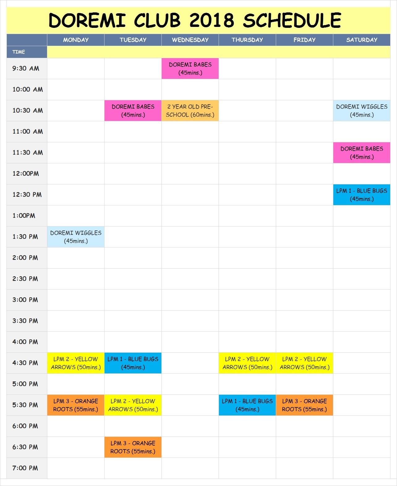 2018 schedule for website