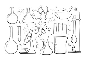 Laboratory equipment sketch set. Science chemistry. Microscope, Glass flasks and test tubes. Chemical experiments. Formulas, elements and atoms. Vector Outline objects
